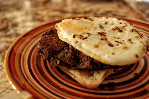Blackbean Burger Patty, Egg, Ciabatta Bread, and Honey... very delicious