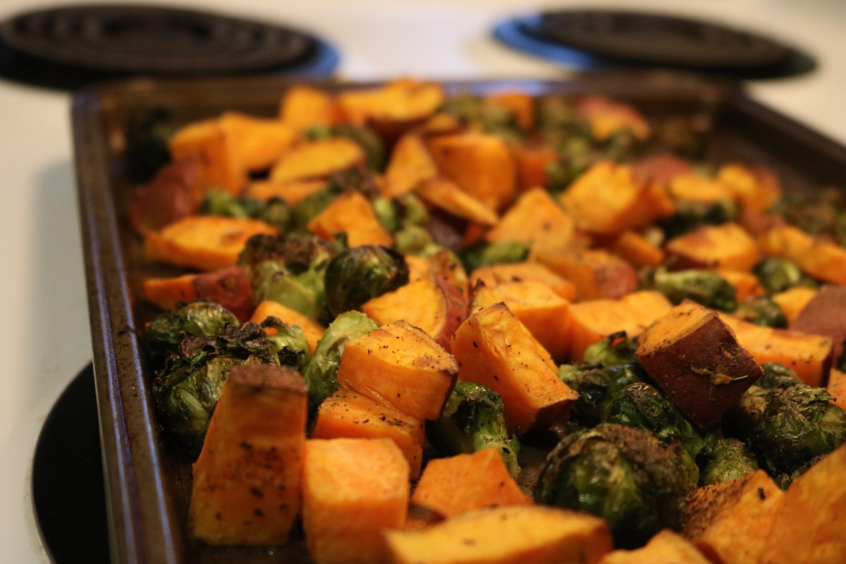Recipe: Roasted Sweet Potatoes and Brussels Sprouts